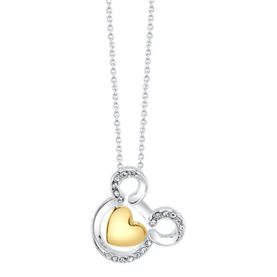 Disney Mickey'S 90th Collection Womens Clear Crystal Pure Silver Over Brass Mickey Mouse Pendant Necklace