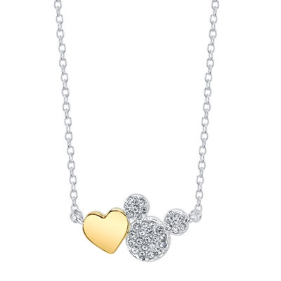 Disney Womens Clear Crystal Pure Silver Over Brass Mickey Mouse Pendant Necklace
