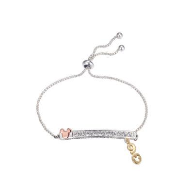 Disney Pure Silver Over Brass Mickey Mouse Bolo Bracelet