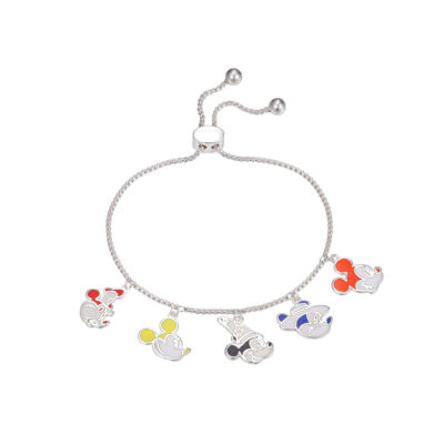 Disney Silver Tone Pure Silver Over Brass Mickey Mouse Bolo Bracelet