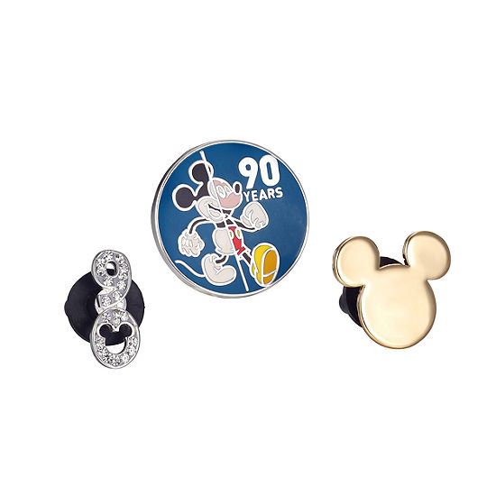 Disney Collection Mickey'S 90th Collection Crystal Silver Over Brass Stainless Steel Pin