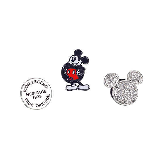 Disney Crystal Silver Over Brass Stainless Steel Pin