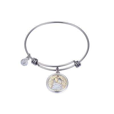 Disney Pure Silver Over Brass Beauty and the Beast Bangle Bracelet