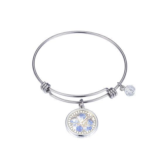 Disney Blue Cubic Zirconia Pure Silver Over Brass Lilo & Stitch Bangle Bracelet