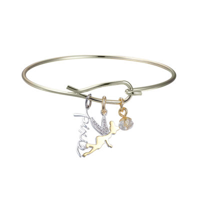 Disney Pure Silver Over Brass Tinker Bell Bangle Bracelet