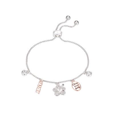 Disney Clear Pure Silver Over Brass Lilo & Stitch Bolo Bracelet