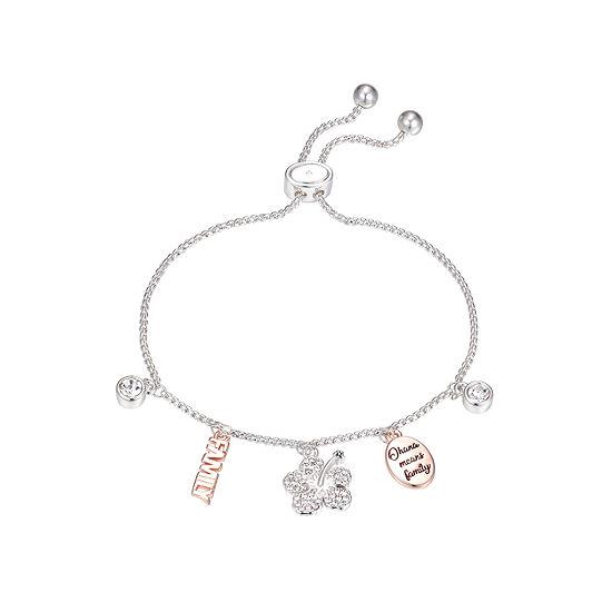 Crystal Pure Silver Over Brass 9 1/2 Inch Lilo & Stitch Bolo Bracelet