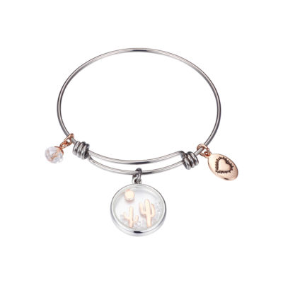 Footnotes Clear Pure Silver Over Brass Round Bangle Bracelet
