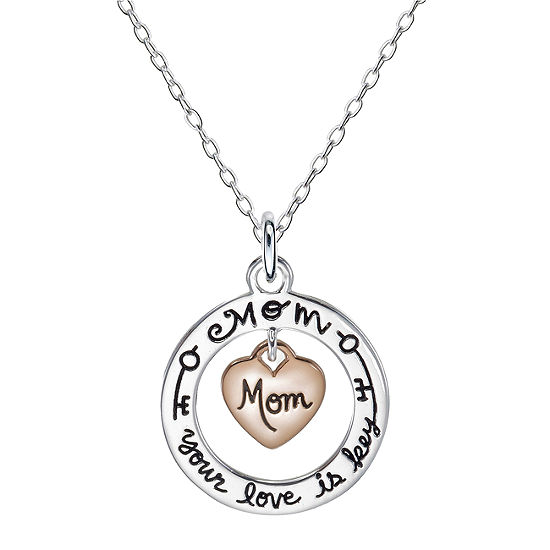 Footnotes Mom Sterling Silver Heart Pendant Necklace