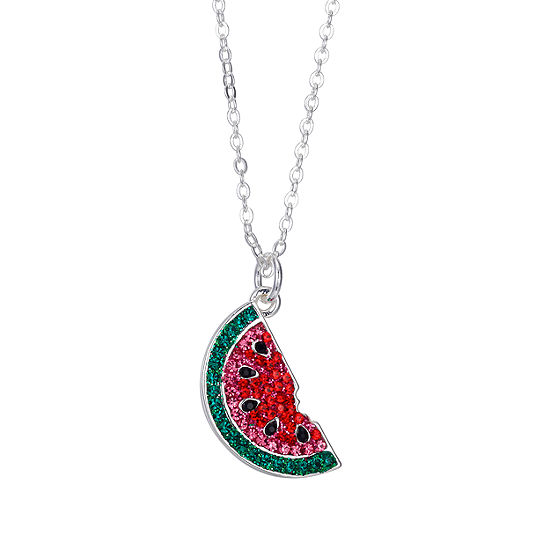 Sparkle Allure Womens Multi Color Crystal Pure Silver Over Brass Pendant Necklace