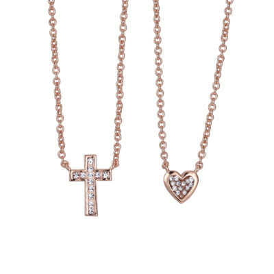 Sparkle Allure 6227 Crystal Kingdom Critter Womens Clear Crystal Pure Silver Over Brass Cross Pendant Necklace