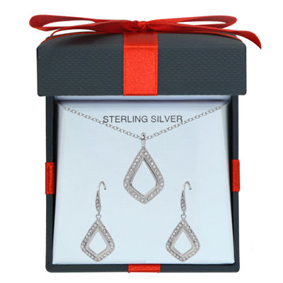 Womens White Crystal Sterling Silver 2-pc. Jewelry Set