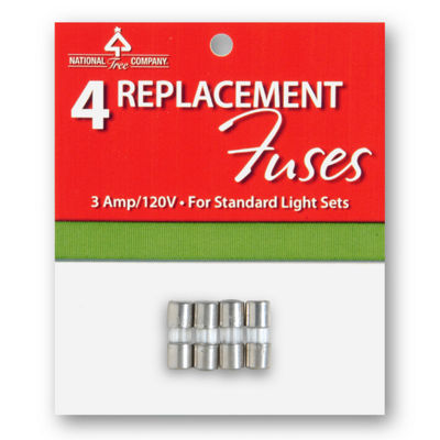National Tree Co. 4-Pc. Standard Light String Replacement Fuse Set Indoor/Outdoor Replacement Light