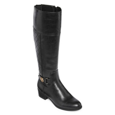 Liz Claiborne Womens Block Heel Zip Trino Riding Boots