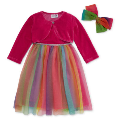 Blueberi Boulevard Long Sleeve Party Dress - Toddler Girls