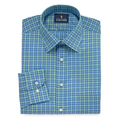 Stafford Travel Easy-Care Stretch Broadcloth Mens Spread Collar Long Sleeve Wrinkle Free Stretch Dress Shirt