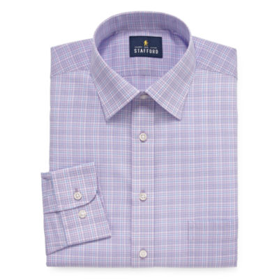 Stafford Travel Easy-Care Stretch Broadcloth Mens Spread Collar Long Sleeve Wrinkle Free Dress Shirt - Big And Tall