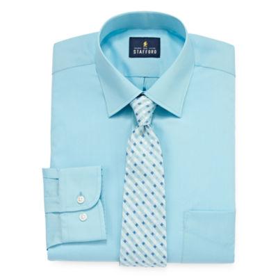 Stafford Box Shirt and Tie Set Big And Tall