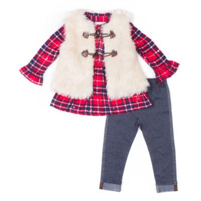 Little Lass 3-pc. Long Sleeve Plaid Shirt Vest Legging Set-Baby Girls
