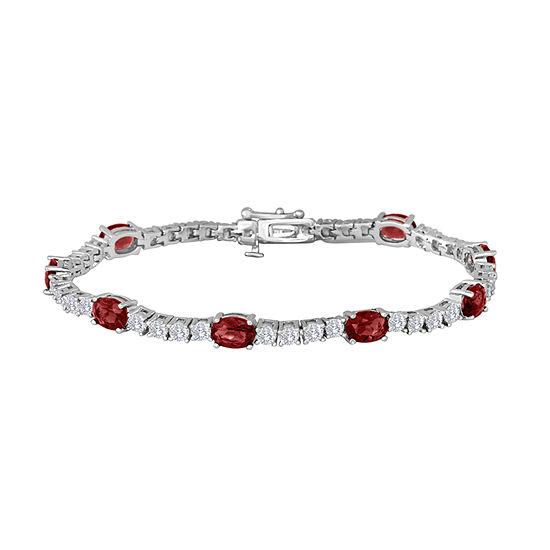 Genuine Red Garnet Pure Silver Over Brass 7.5 Inch Tennis Bracelet