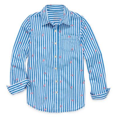 Arizona Boys Long Sleeve Button-Front Shirt