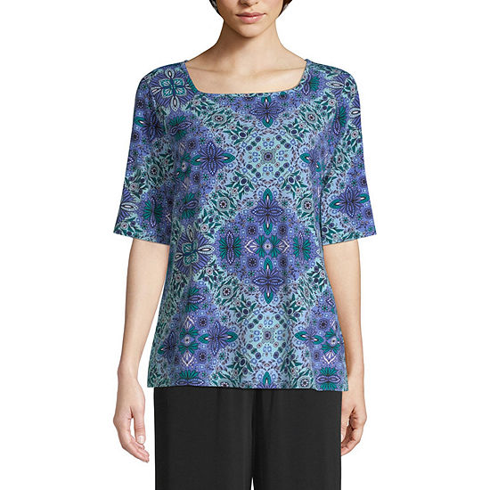 east 5th Womens Square Neck Elbow Sleeve Knit Blouse
