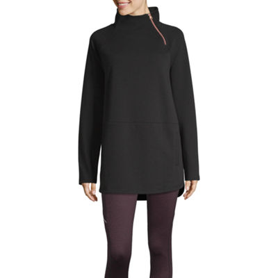 Xersion Womens Mock Neck Long Sleeve Quarter-Zip Pullover