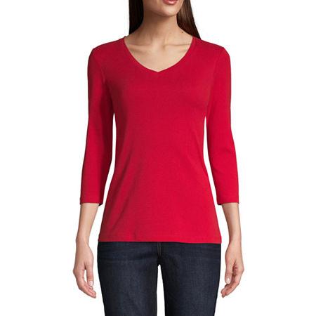 St. John's Bay Womens V Neck 3/4 Sleeve T-Shirt, X-large , Red