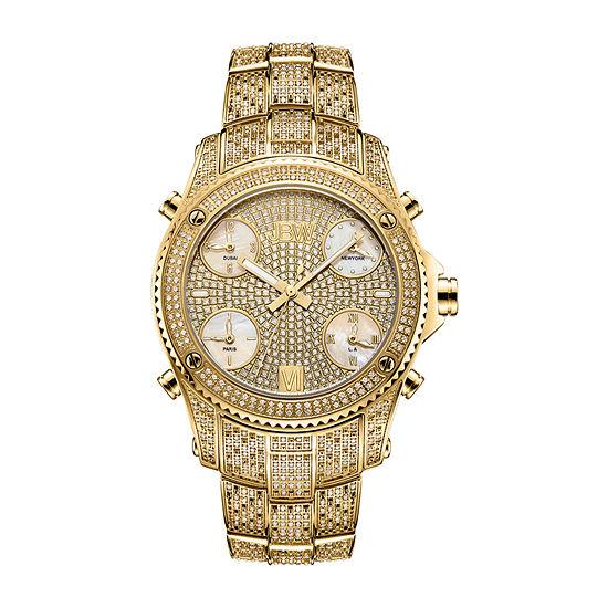 JBW Jet Setter 2 3/4 C.T. T.W. Genuine Diamond Mens Gold Tone Stainless Steel Bracelet Watch-Ps550a
