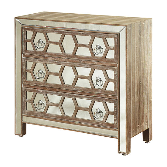 3 Drawer Hazelnut and Mirrored Accent Chest