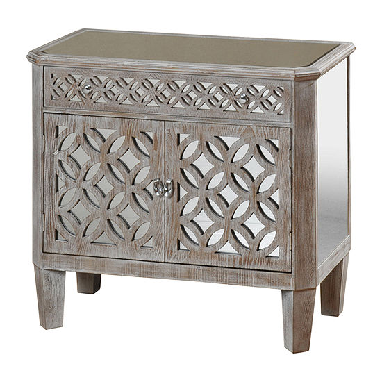 Stylecraft Filigree 2 Door and Drawer Gray Mirrored Accent Chest