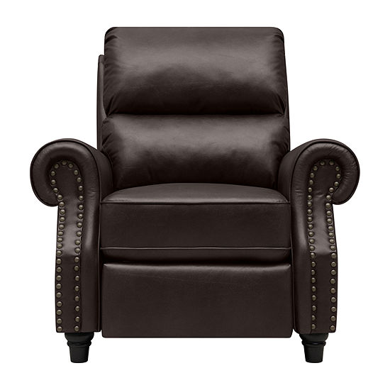 Anna Push Back Roll-Arm Recliner in Renu Leather