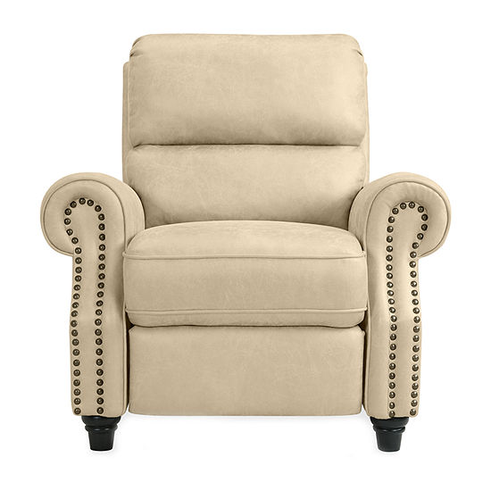 Anna Push Back Roll-Arm Recliner in Distressed Faux Leather