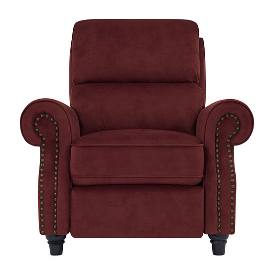 Anna Push Back Roll-Arm Recliner in Suede-Like Fabric
