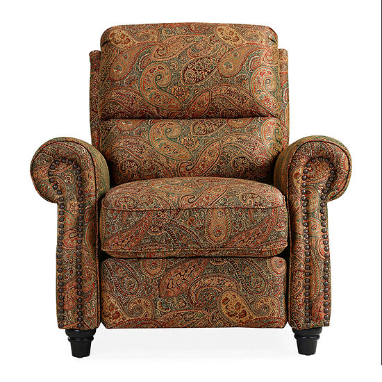Anna Push Back Roll-Arm Recliner in Paisley Print