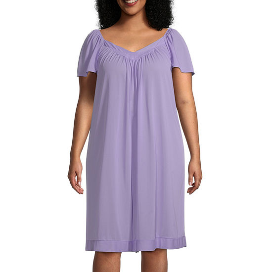 Lissome Tricot Womens Plus Short Sleeve V Neck Nightgown