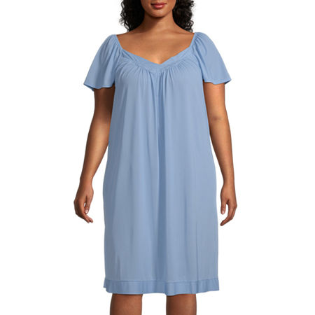 Lissome Tricot Womens Plus Short Sleeve V Neck Nightgown, 3x , Blue