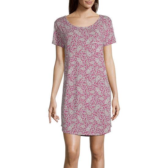 Liz Claiborne Womens Nightshirt Short Sleeve Round Neck