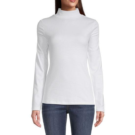 St. John's Bay Womens Mock Neck Long Sleeve T-Shirt