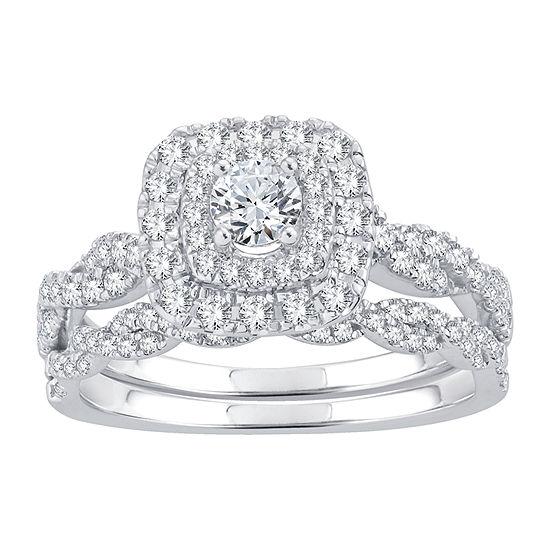 Womens 1 CT. T.W. White Diamond 10K White Gold Bridal Set
