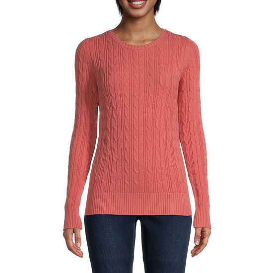 St. John's Bay Cable Womens Crew Neck Long Sleeve Pullover Sweater