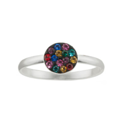 Pure Silver-Plated Multicolor Crystal Disc Ring