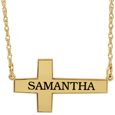 Personalized 14K Gold Over Silver Cross Pendant Necklace