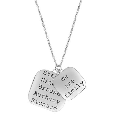 "Personalized ""We Are Family"" Sterling Silver Pendant Necklace"
