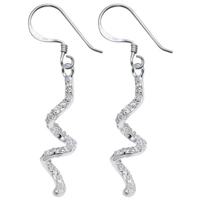 Sterling Silver Cubic Zirconia Squiggle Earrings