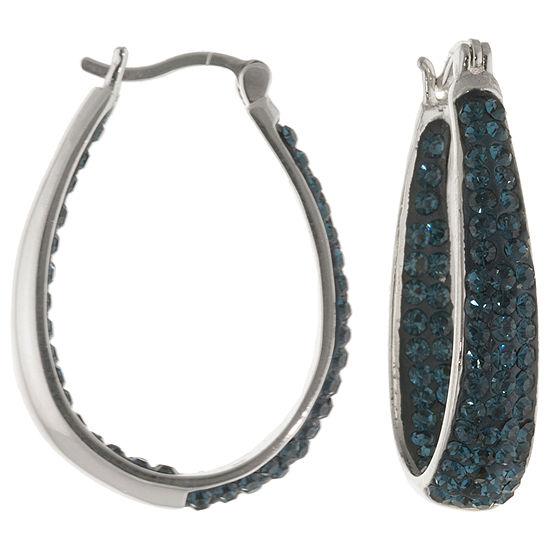 Blue Crystal Hoop Earrings Sterling Silver
