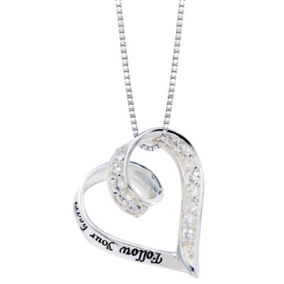 "Inspired Moments™ Sterling Silver ""Follow Your Heart"" Pendant Necklace"