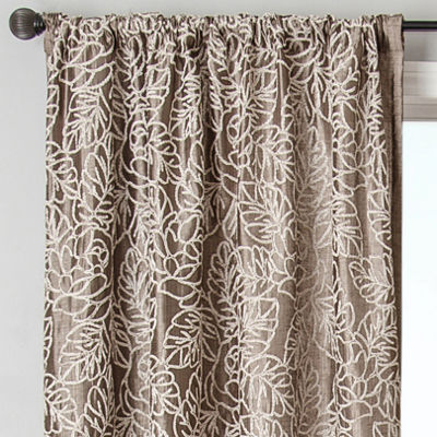 Sedro Floral Faux-Silk Rod-Pocket Curtain Panel