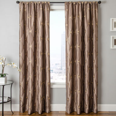 Ramona Faux-Silk Rod-Pocket Curtain Panel