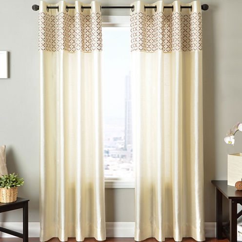 Guild Two-Tone Faux-Silk Grommet-Top Two-Tone Curtain Panel